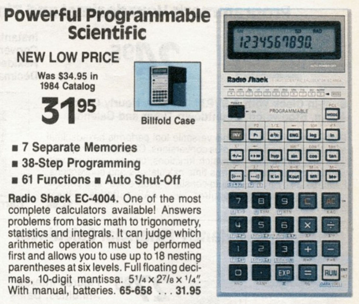 CALCUSEUM(XL) RADIO SHACK: EC4004